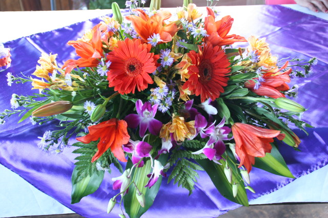 tropical flowers at wedding in Belize by Belize wedding planner romantictravelbelize.com