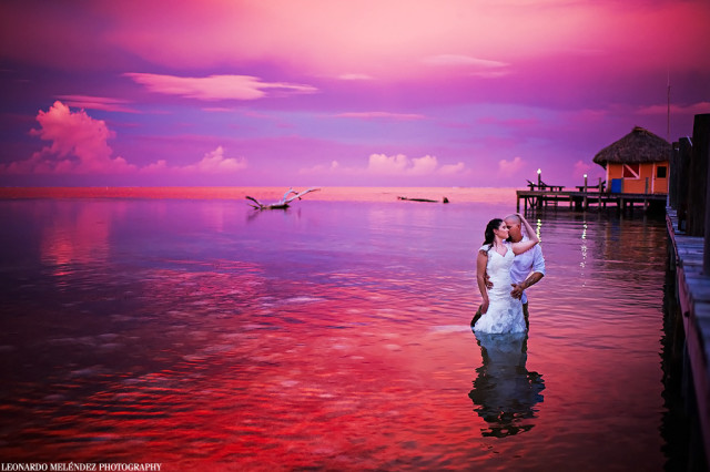 Wedding couple in the Water Belize with romantictravelbelize.com