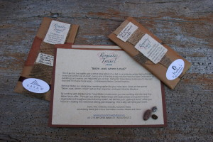 Sample of an announcement and customized coffee and cocoa packets