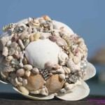 lara@romantictravelbelize.com Bridal Bouquet Hand Made with Vintage Jewelry, Belize Shells and Coral