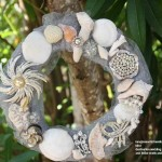 "RomanticTravelBelize.com Hand Made Wreath with Vintage Jewelry, Belize Shells and Coral.  Great for walls, doors, on an 8"" plate with a candle, or for a ""Sand Pour Ceremony"""