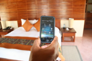 Upon check in, you'll receive an iPhone. This is used to control everything in your villa