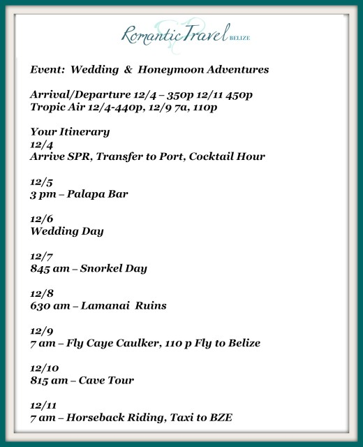 Wedding Adventures in Belize organized with wedding planner romantictravelbelize.com