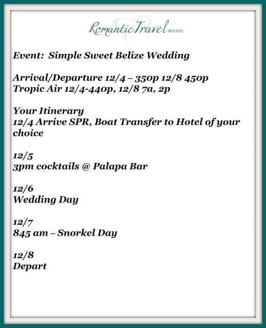 Custom Itinerary created by Belize wedding planner romantictravelbelize.com